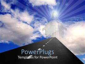 PowerPlugs: PowerPoint template with the figure of a person with clouds in the background