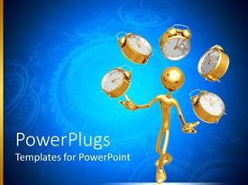 PowerPlugs: PowerPoint template with a figure playing with clocks and bluish background