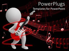 PowerPlugs: PowerPoint template with a figure playing the guitar with music signs in the background