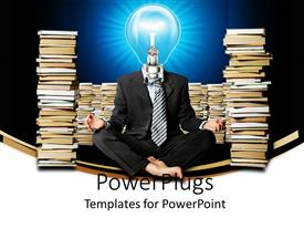 PowerPlugs: PowerPoint template with a figure of the professional with books in the background