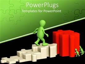 PowerPoint template displaying a figure on the puzzle pieces with greenish background