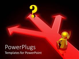 PowerPlugs: PowerPoint template with a figure on a red arrow pointing towards various direction