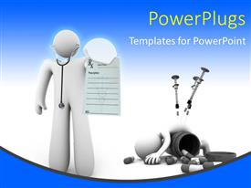 PowerPoint template displaying a figure representing a doctor with bluish background