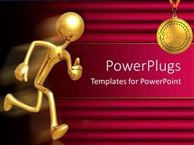 PowerPlugs: PowerPoint template with a figure running towards a medal