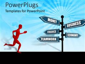 PowerPoint template displaying a figure running towards various signs