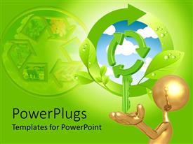 PowerPlugs: PowerPoint template with a figure showing green energy and the effects of it on environemnt