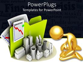 PowerPlugs: PowerPoint template with a figure sitting in front of a number f crisis reports