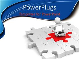 PowerPlugs: PowerPoint template with the figure sitting on the main part of the jigsaw puzzle