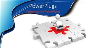 PowerPoint template displaying the figure sitting on the main part of the jigsaw puzzle