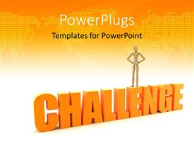 PowerPoint template displaying a figure standing on the word challenge with map in the background