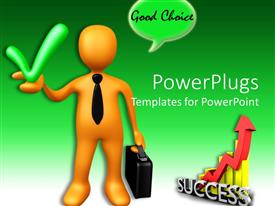 PowerPlugs: PowerPoint template with a figure with the tick sign and green background