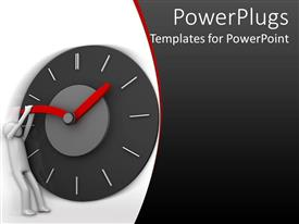 PowerPlugs: PowerPoint template with a figure trying to hold back the time by messing with the clock