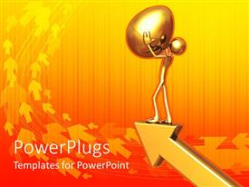 PowerPoint template displaying a figure trying to hold on to a golden egg