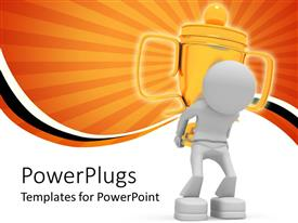 PowerPlugs: PowerPoint template with the figure of a winner carrying a cup on the back