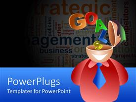 PowerPlugs: PowerPoint template with a figure with the word goals and words in the background