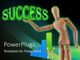 PowerPoint template displaying a figure with the word success and geeenish background
