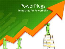 PowerPlugs: PowerPoint template with a figure working on the growth arrow