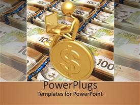 PowerPoint template displaying a figure working on the laptop sitting on a coin