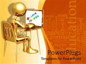 PowerPlugs: PowerPoint template with a figure working on a laptop with words in the background