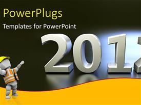 PowerPlugs: PowerPoint template with a construction worker with a text that spell out '2012'