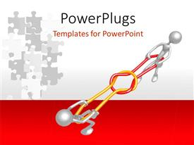 PowerPlugs: PowerPoint template with presentation figures in 3D playing with grey colored puzzles