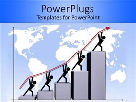 PowerPoint template displaying figures carrying arrow up steps on world map background