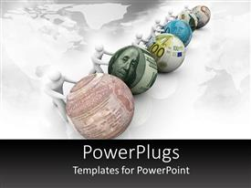 PowerPlugs: PowerPoint template with figures pushing spheres made of different currency notes in white background