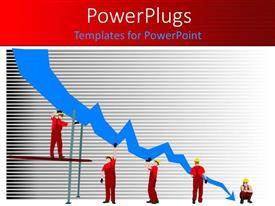 PowerPoint template displaying figures in red holding up downward blue arrow, business failure