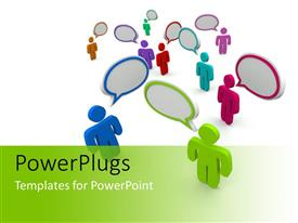 PowerPlugs: PowerPoint template with figures in various colors with matching conversation bubbles over their heads