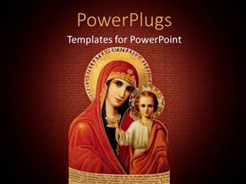 PowerPoint template displaying a figurine of Virgin Mary and Baby Jesus on a red background
