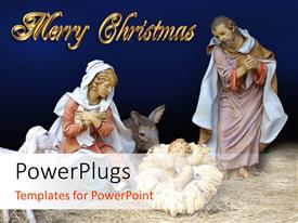 PowerPlugs: PowerPoint template with figurines depicting Mary in manger giving birth to Jesus