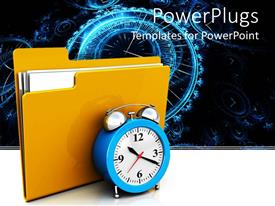 PowerPlugs: PowerPoint template with a file and a clock with clocks in the background