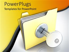 PowerPlugs: PowerPoint template with a file with a key along with yellow background