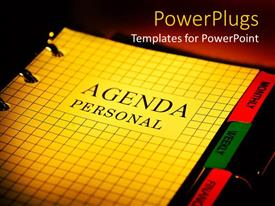 PowerPlugs: PowerPoint template with the file of personal agenda with dark background