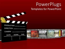 PowerPoint template displaying film projector clapboard with vintage film roll depicting various cities and captures of nature on dark red background