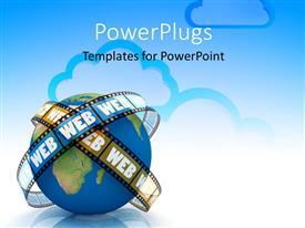 PowerPlugs: PowerPoint template with film strip with text WEB around earth globe and cloud computing symbol in background