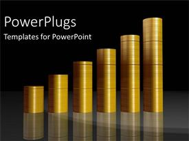 PowerPlugs: PowerPoint template with financial chart built with pile of gold coins over black background
