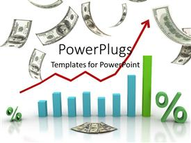 PowerPlugs: PowerPoint template with financial chart currency transactions and financial success with dollars