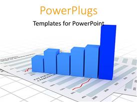 PowerPlugs: PowerPoint template with financial chart depicting sales with white color