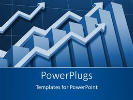 PowerPlugs: PowerPoint template with financial chart depiction with bar chart and upward stock arrows