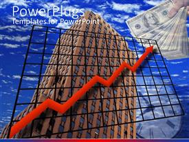 PowerPoint template displaying financial chart drawn across building rising into sky