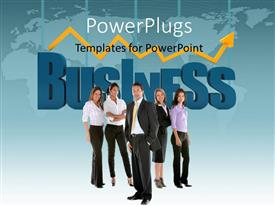 PowerPlugs: PowerPoint template with financial chart over world map in background with business team