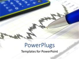 PowerPlugs: PowerPoint template with financial chart with pen, calculator, finance, investing, budgeting