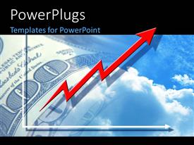 PowerPlugs: PowerPoint template with financial chart with red arrow over hundred dollar bill in sky