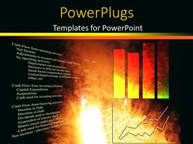 PowerPoint template displaying financial chart with two dimensional bar charts on fiery background