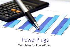 PowerPoint template displaying financial charts calculated with pen and calculator on white background