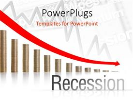 PowerPoint template displaying financial crisis chart with depressing arrow over stacks of gold coin