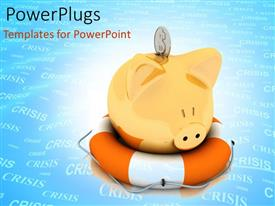 PowerPlugs: PowerPoint template with financial crisis with crisis is blue background with piggy bank on lifesaver