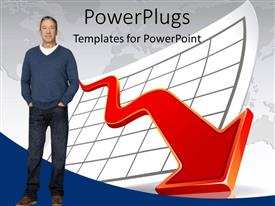 PowerPlugs: PowerPoint template with financial crisis depiction with business standing beside depressing chart over world map