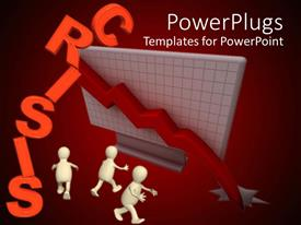 PowerPlugs: PowerPoint template with financial crisis depiction with crashing line chart and confused 3D men
